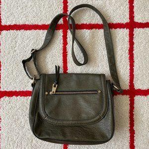 A+ Ellen Flap Medium Green Leather Crossbody Bag